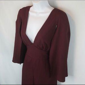 Burgundy cape wide legged jumpsuit